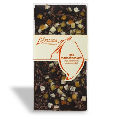11I 70% mørk chokolade med kakaonibs og pomeransskal