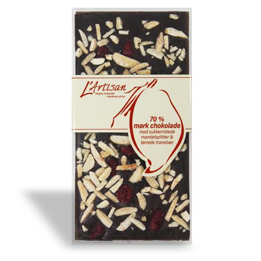 70% mørk chokolade med sukkerristede mandelsplitter og tørrede tranebær